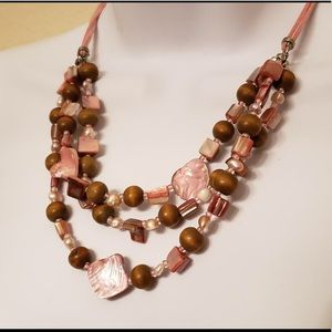 🌸 Pink 3 Layer Chunky Stone Statement Necklace